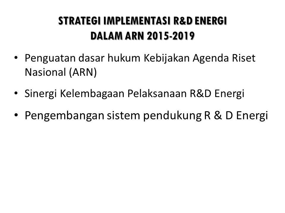 STRATEGI IMPLEMENTASI R&D ENERGI DALAM ARN 2015-2019 • Penguatan dasar hukum Kebijakan Agenda Riset Nasional (ARN) • Sinergi Kelembagaan Pelaksanaan R&D Energi • Pengembangan sistem pendukung R & D Energi