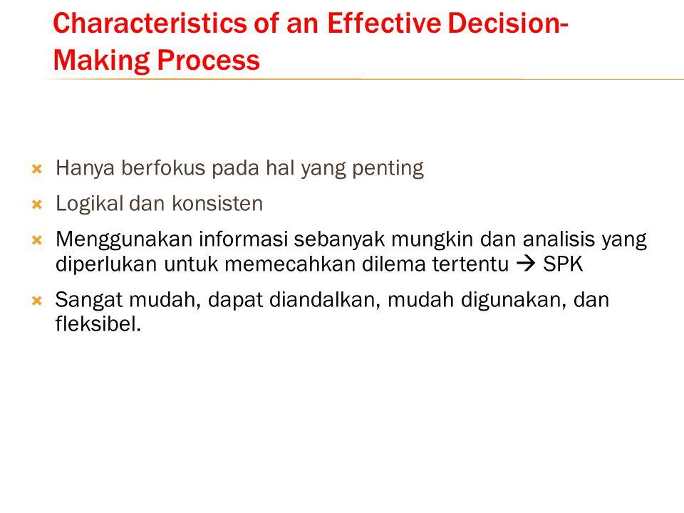 Characteristics of an Effective Decision- Making Process  Hanya berfokus pada hal yang penting  Logikal dan konsisten  Menggunakan informasi sebany