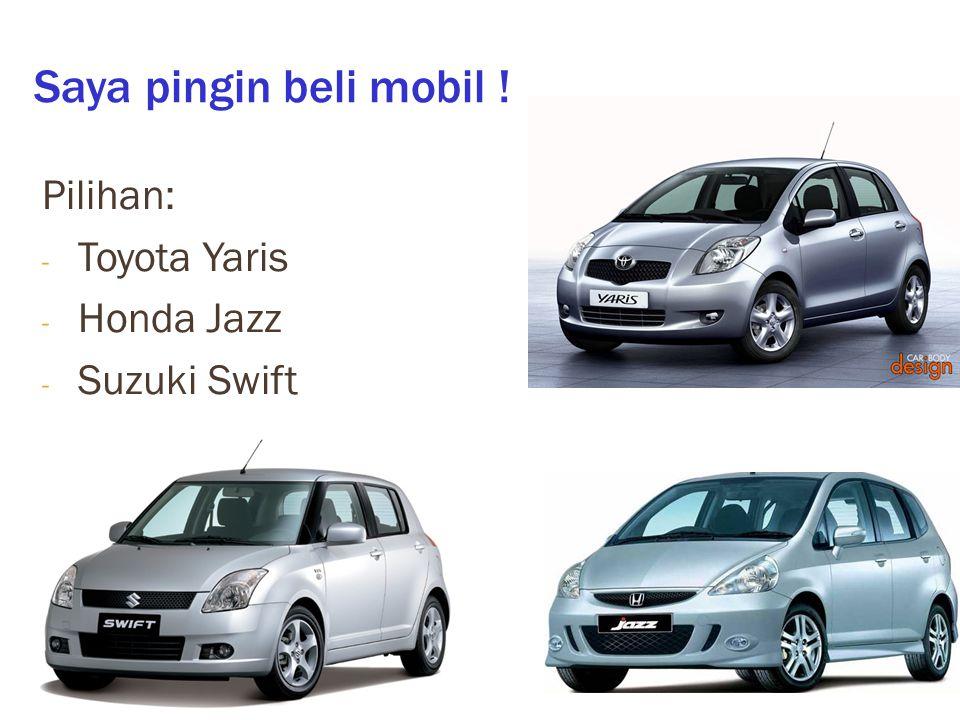 Saya pingin beli mobil ! Pilihan: - Toyota Yaris - Honda Jazz - Suzuki Swift