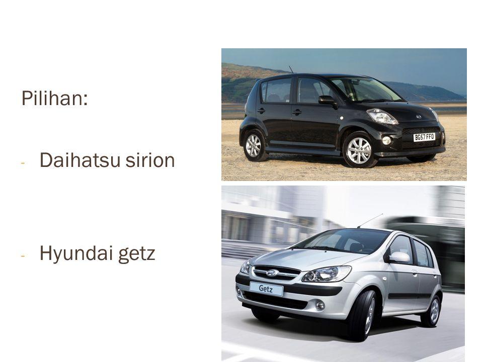 Pilihan: - Daihatsu sirion - Hyundai getz