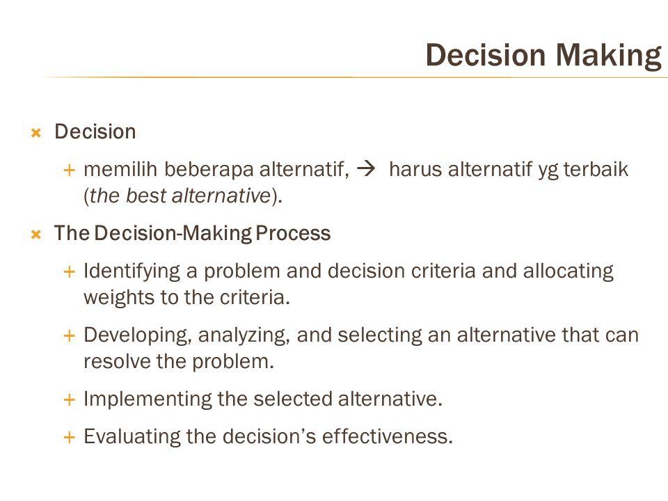 Decision Making  Decision  memilih beberapa alternatif,  harus alternatif yg terbaik (the best alternative).  The Decision-Making Process  Identi