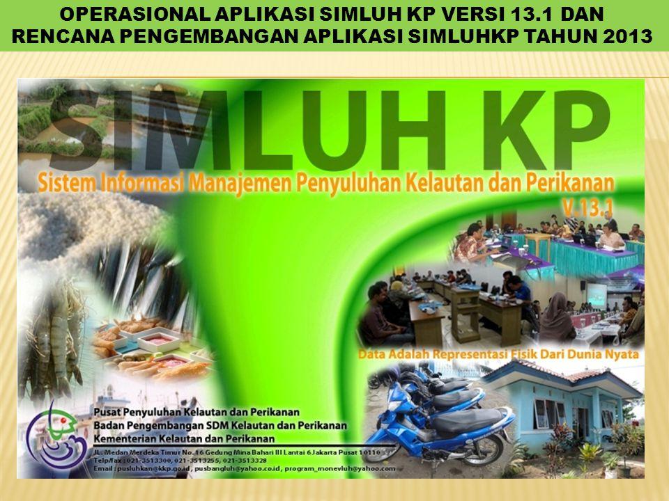 OPERASIONAL APLIKASI SIMLUH KP VERSI 13.1 DAN RENCANA PENGEMBANGAN APLIKASI SIMLUHKP TAHUN 2013