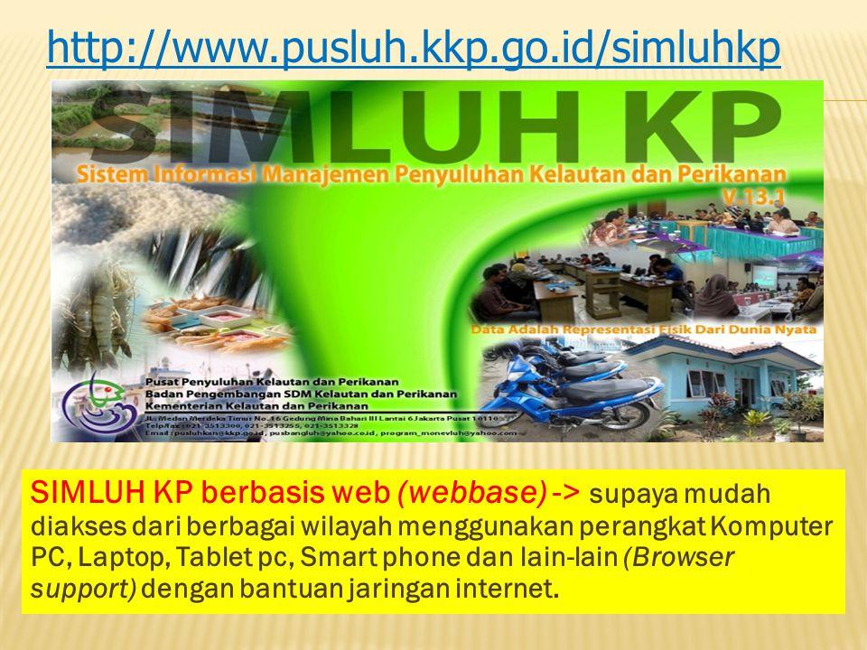 SIMLUH KP berbasis web (webbase) -> supaya mudah diakses dari berbagai wilayah menggunakan perangkat Komputer PC, Laptop, Tablet pc, Smart phone dan l