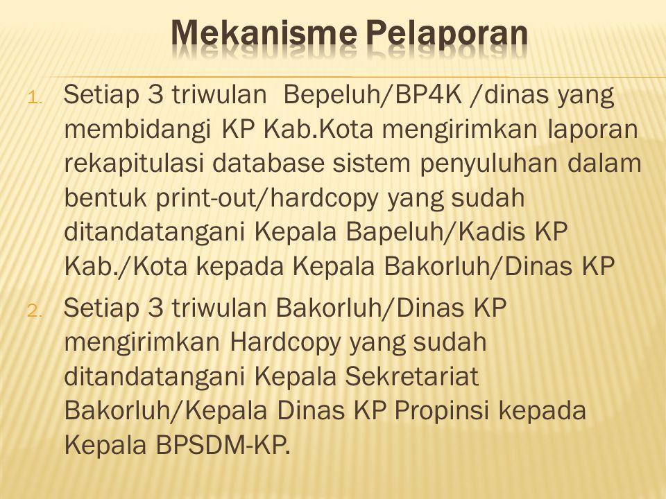 1. Setiap 3 triwulan Bepeluh/BP4K /dinas yang membidangi KP Kab.Kota mengirimkan laporan rekapitulasi database sistem penyuluhan dalam bentuk print-ou