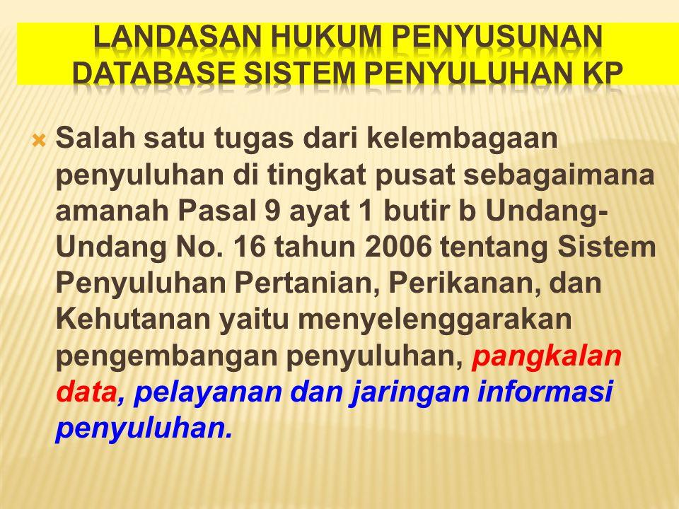  Salah satu tugas dari kelembagaan penyuluhan di tingkat pusat sebagaimana amanah Pasal 9 ayat 1 butir b Undang- Undang No. 16 tahun 2006 tentang Sis
