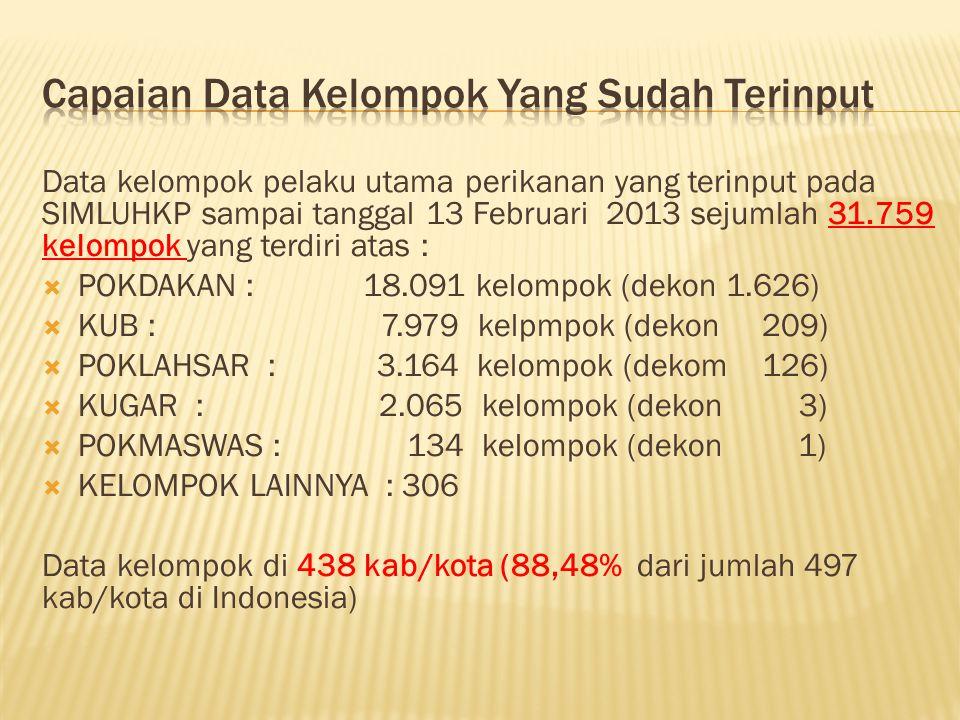 Data kelompok pelaku utama perikanan yang terinput pada SIMLUHKP sampai tanggal 13 Februari 2013 sejumlah 31.759 kelompok yang terdiri atas :  POKDAK