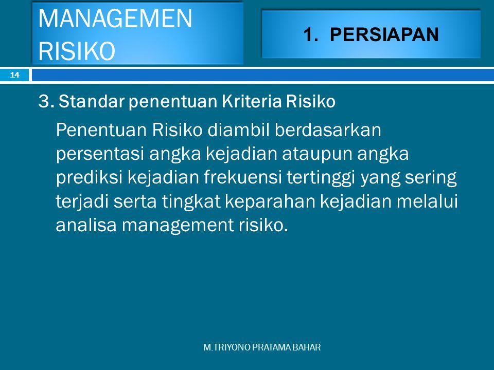 MANAGEMEN RISIKO M.TRIYONO PRATAMA BAHAR 14 3. Standar penentuan Kriteria Risiko Penentuan Risiko diambil berdasarkan persentasi angka kejadian ataupu