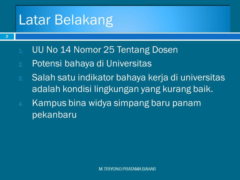 Latar Belakang M.TRIYONO PRATAMA BAHAR 2 1. UU No 14 Nomor 25 Tentang Dosen 2. Potensi bahaya di Universitas 3. Salah satu indikator bahaya kerja di u