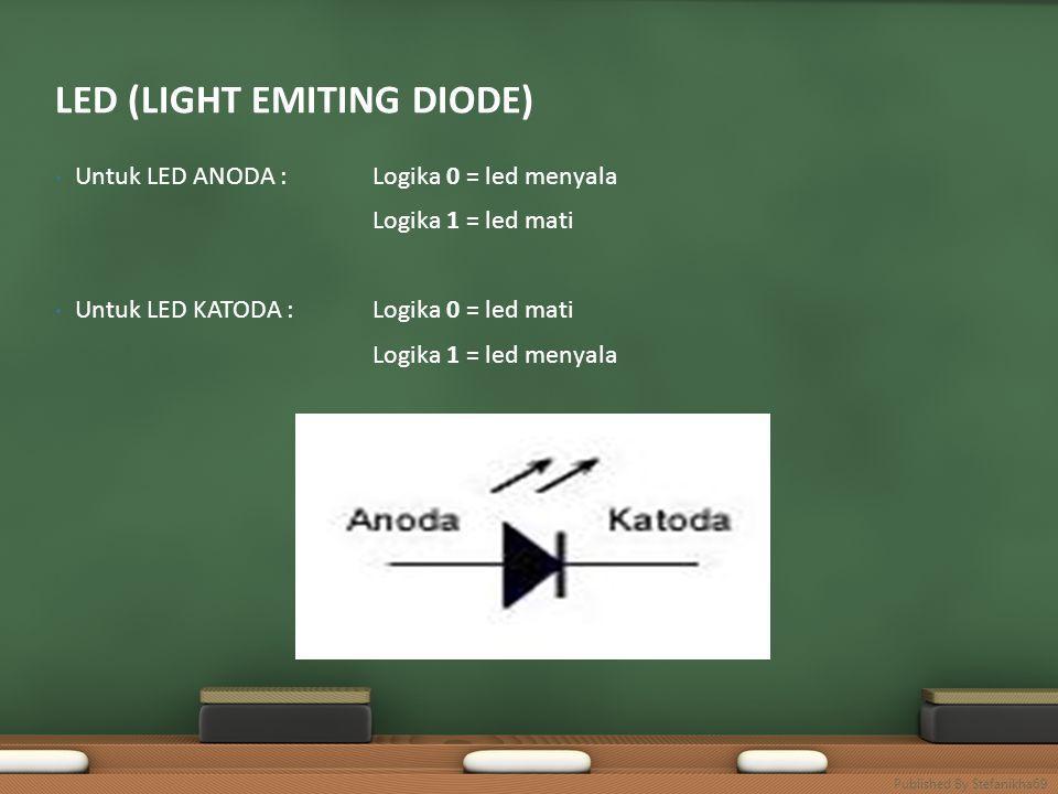 • Untuk LED ANODA : Logika 0 = led menyala Logika 1 = led mati • Untuk LED KATODA :Logika 0 = led mati Logika 1 = led menyala LED (LIGHT EMITING DIODE) Published By Stefanikha69