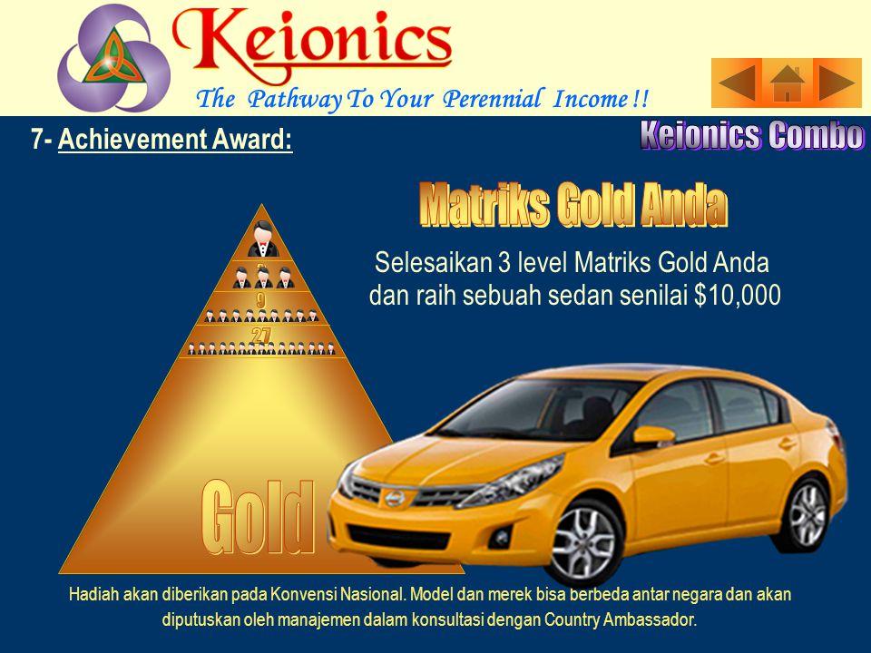 7- Achievement Award: Selesaikan 3 level Matriks Silver Anda Hadiah akan diberikan pada Konvensi Nasional.