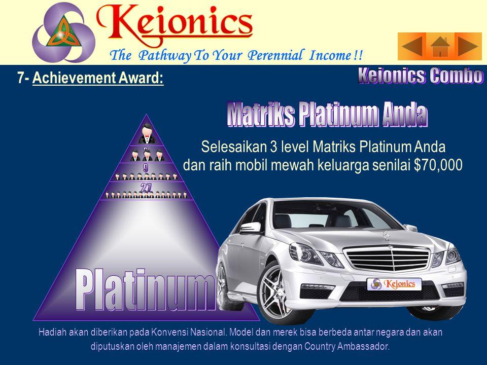 7- Achievement Award: Selesaikan 3 level Matriks Gold Anda Hadiah akan diberikan pada Konvensi Nasional.