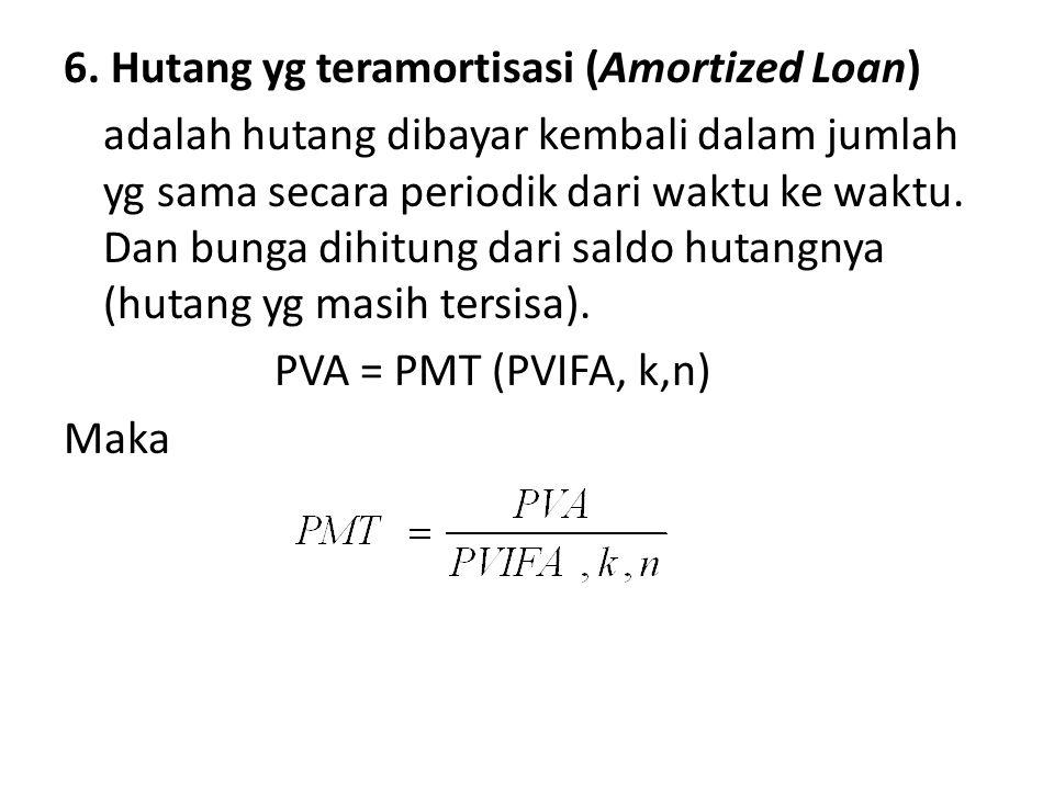6. Hutang yg teramortisasi (Amortized Loan) adalah hutang dibayar kembali dalam jumlah yg sama secara periodik dari waktu ke waktu. Dan bunga dihitung