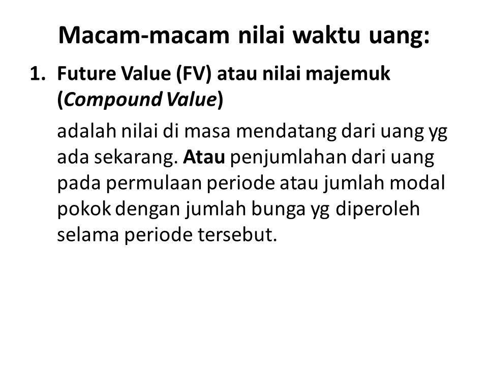 Macam-macam nilai waktu uang: 1.Future Value (FV) atau nilai majemuk (Compound Value) adalah nilai di masa mendatang dari uang yg ada sekarang. Atau p