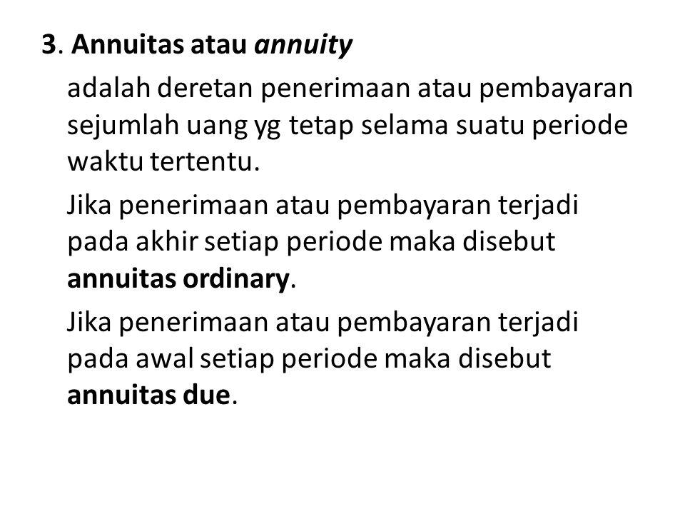 3. Annuitas atau annuity adalah deretan penerimaan atau pembayaran sejumlah uang yg tetap selama suatu periode waktu tertentu. Jika penerimaan atau pe