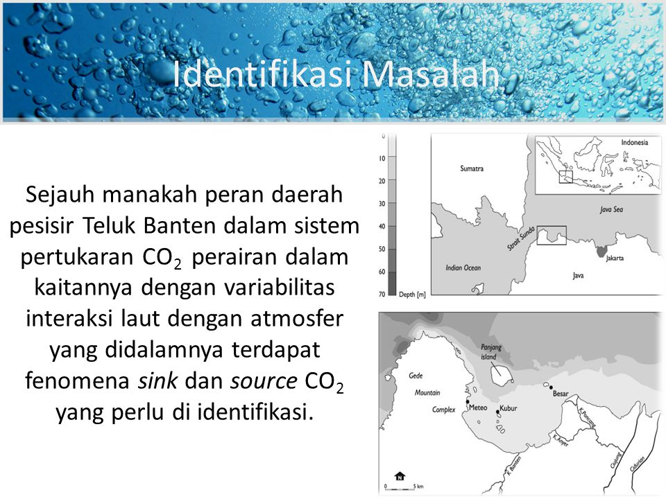 Sejauh manakah peran daerah pesisir Teluk Banten dalam sistem pertukaran CO 2 perairan dalam kaitannya dengan variabilitas interaksi laut dengan atmosfer yang didalamnya terdapat fenomena sink dan source CO 2 yang perlu di identifikasi.