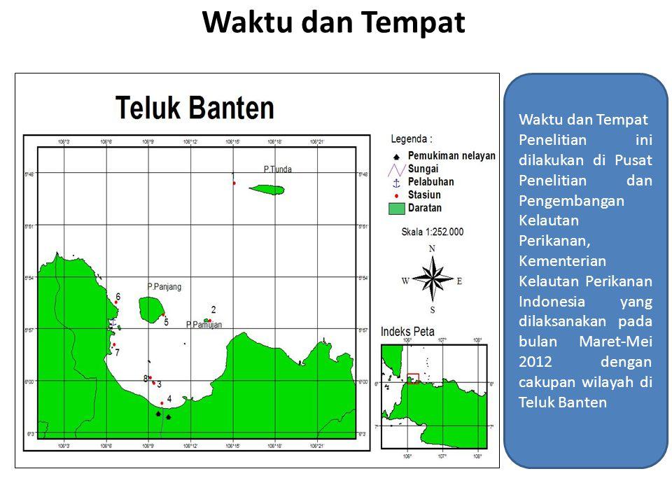 Waktu dan Tempat Penelitian ini dilakukan di Pusat Penelitian dan Pengembangan Kelautan Perikanan, Kementerian Kelautan Perikanan Indonesia yang dilaksanakan pada bulan Maret-Mei 2012 dengan cakupan wilayah di Teluk Banten
