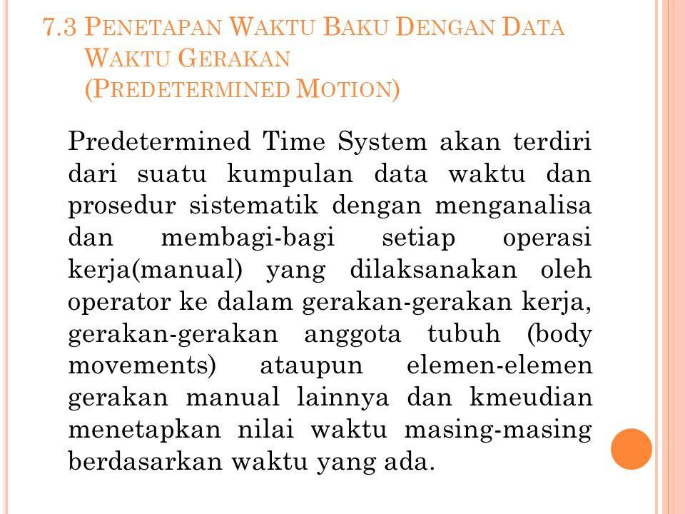 7.3 P ENETAPAN W AKTU B AKU D ENGAN D ATA W AKTU G ERAKAN (P REDETERMINED M OTION ) Predetermined Time System akan terdiri dari suatu kumpulan data wa