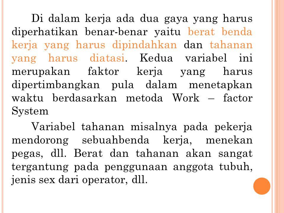 Di dalam kerja ada dua gaya yang harus diperhatikan benar-benar yaitu berat benda kerja yang harus dipindahkan dan tahanan yang harus diatasi. Kedua v