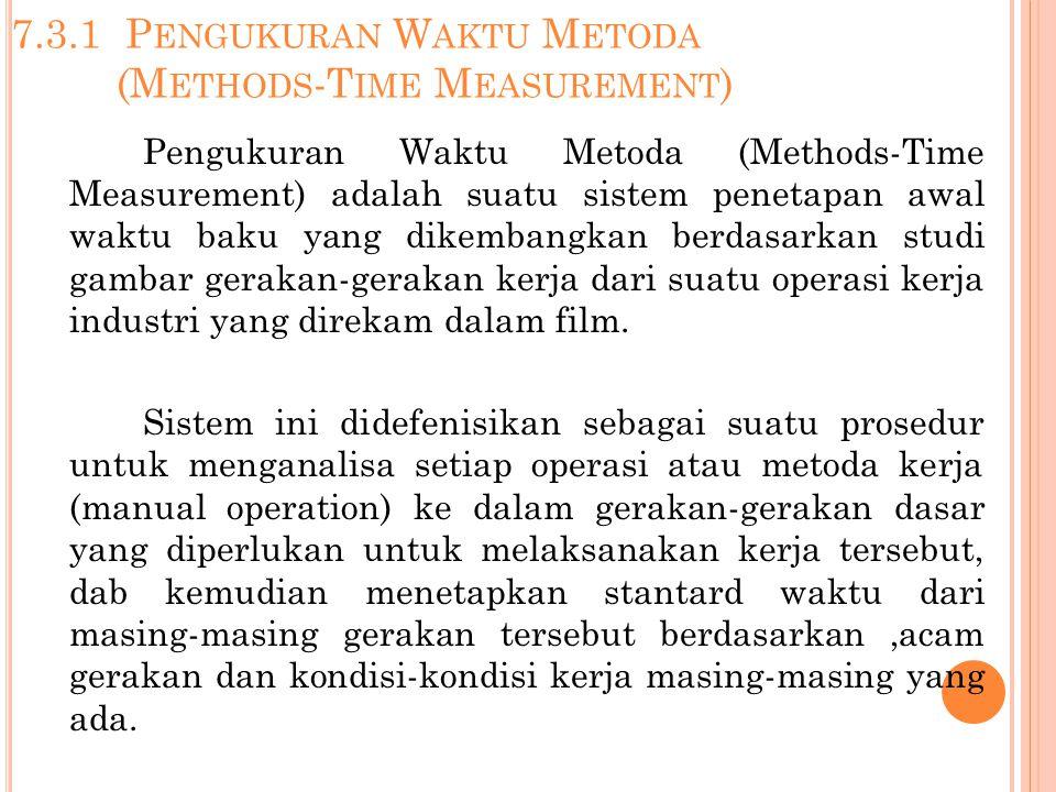 7.3.1 P ENGUKURAN W AKTU M ETODA (M ETHODS -T IME M EASUREMENT ) Pengukuran Waktu Metoda (Methods-Time Measurement) adalah suatu sistem penetapan awal