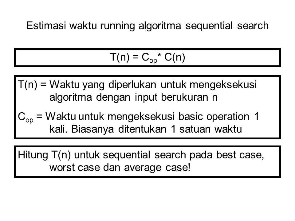 Estimasi waktu running algoritma sequential search T(n) = C op * C(n) T(n) = Waktu yang diperlukan untuk mengeksekusi algoritma dengan input berukuran