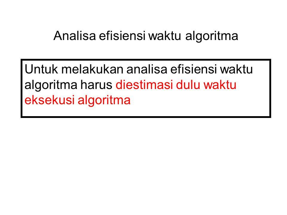 Analisa efisiensi waktu algoritma Untuk melakukan analisa efisiensi waktu algoritma harus diestimasi dulu waktu eksekusi algoritma