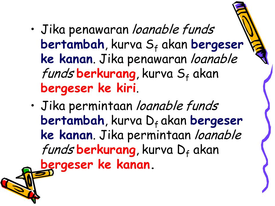 •Jika penawaran loanable funds bertambah, kurva S f akan bergeser ke kanan.