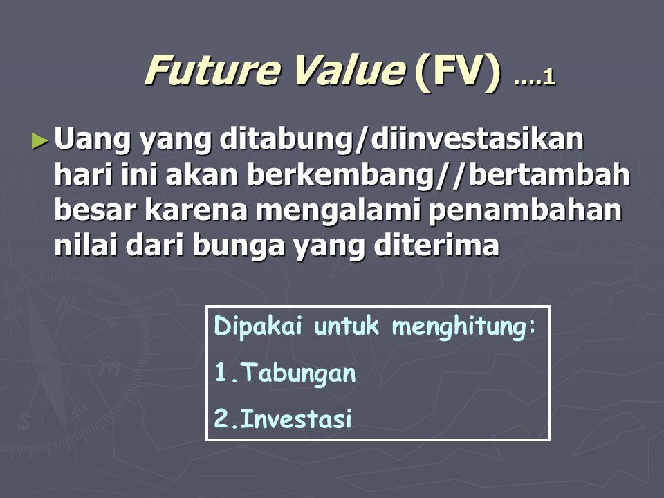 Future Value (FV) ….1 ► Uang yang ditabung/diinvestasikan hari ini akan berkembang//bertambah besar karena mengalami penambahan nilai dari bunga yang