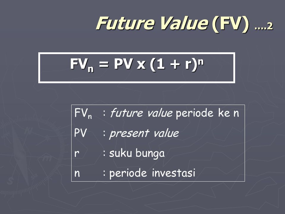 Future Value (FV) ….2 FV n = PV x (1 + r) n FV n : future value periode ke n PV: present value r: suku bunga n: periode investasi