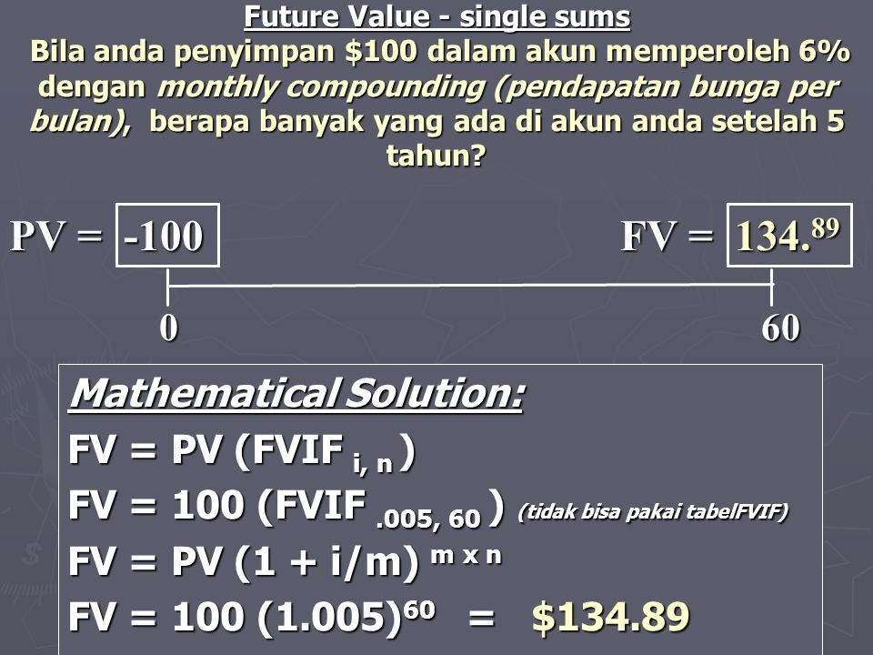 Mathematical Solution: FV = PV (FVIF i, n ) FV = 100 (FVIF.005, 60 ) (tidak bisa pakai tabelFVIF) FV = PV (1 + i/m) m x n FV = 100 (1.005) 60 = $134.8