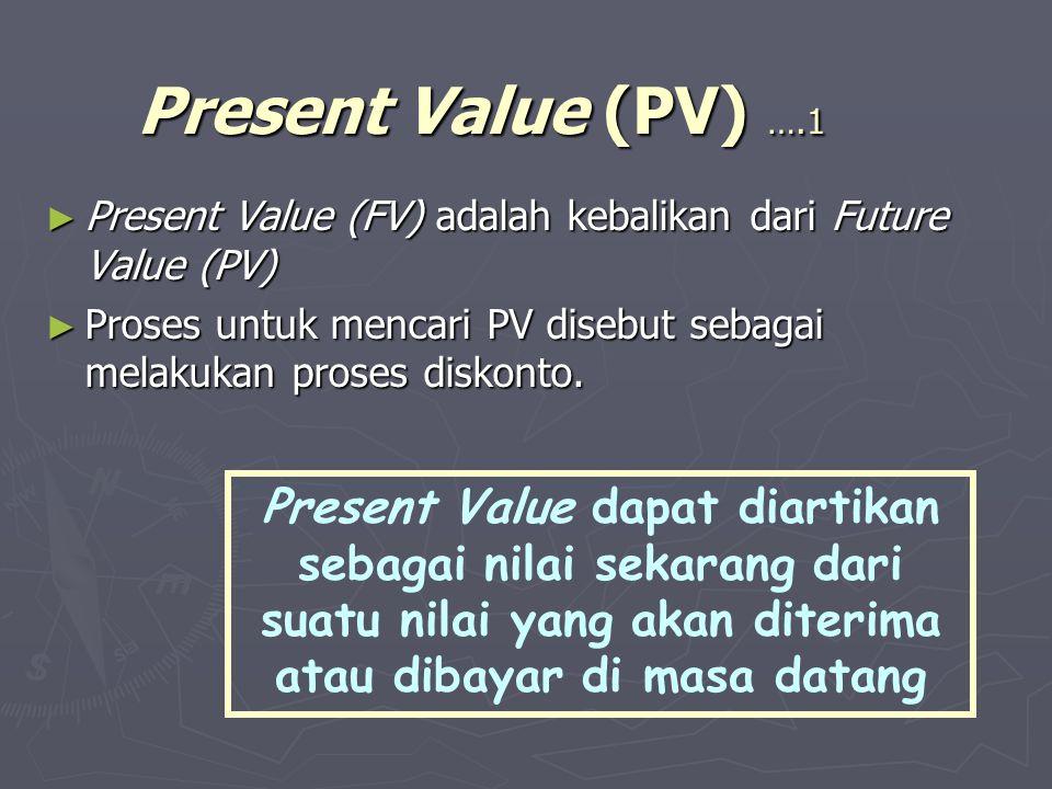 Present Value (PV) ….1 ► Present Value (FV) adalah kebalikan dari Future Value (PV) ► Proses untuk mencari PV disebut sebagai melakukan proses diskont