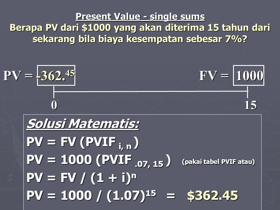 Solusi Matematis: PV = FV (PVIF i, n ) PV = 1000 (PVIF.07, 15 ) (pakai tabel PVIF atau) PV = FV / (1 + i) n PV = 1000 / (1.07) 15 = $362.45 0 15 0 15