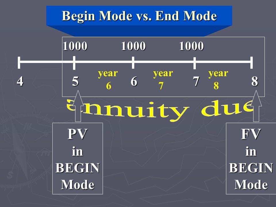 Begin Mode vs. End Mode 1000 1000 1000 4 5 6 7 8 year year year 6 7 8 PVinBEGINModeFVinBEGINMode