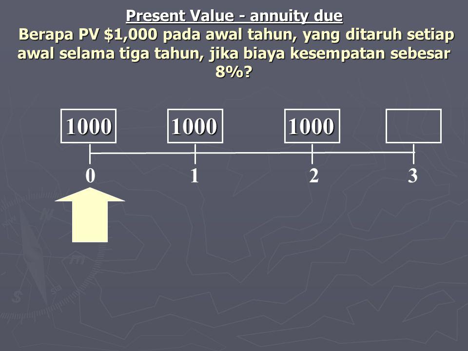 0 1 2 3 1000 1000 1000 1000 1000 1000 Present Value - annuity due Berapa PV $1,000 pada awal tahun, yang ditaruh setiap awal selama tiga tahun, jika b