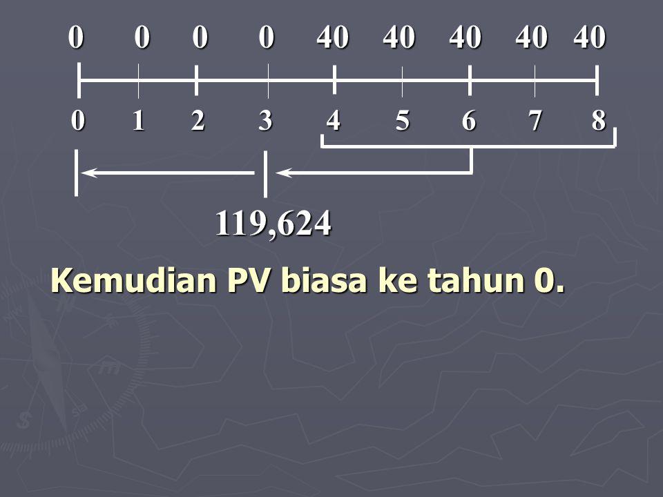 Kemudian PV biasa ke tahun 0. 119,624 012345678 0 0 0 0 40 40 40 40 40 0 0 0 0 40 40 40 40 40