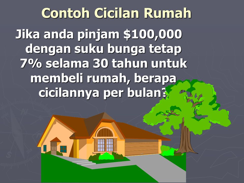 Contoh Cicilan Rumah Jika anda pinjam $100,000 dengan suku bunga tetap 7% selama 30 tahun untuk membeli rumah, berapa cicilannya per bulan?