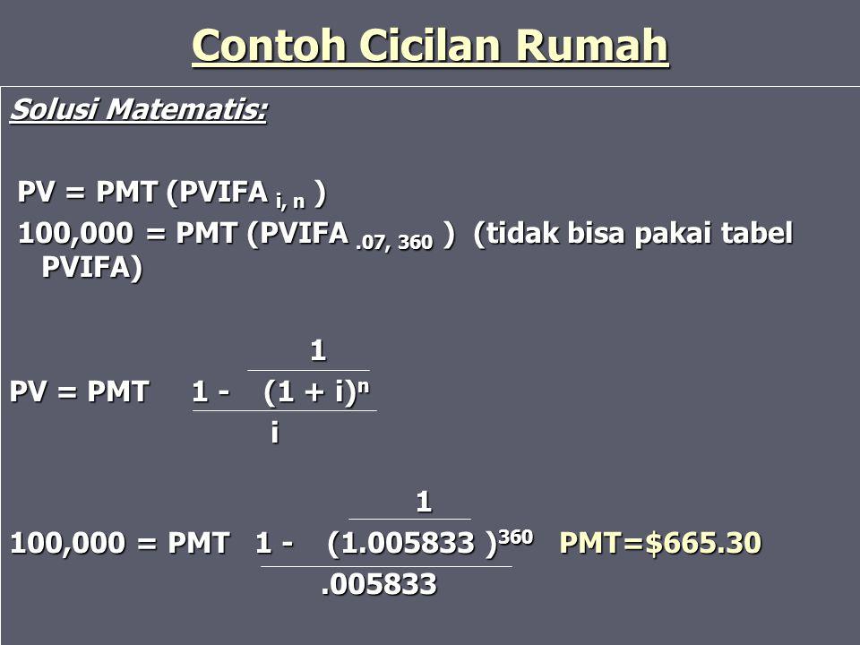 Contoh Cicilan Rumah Solusi Matematis: PV = PMT (PVIFA i, n ) PV = PMT (PVIFA i, n ) 100,000 = PMT (PVIFA.07, 360 ) (tidak bisa pakai tabel PVIFA) 100