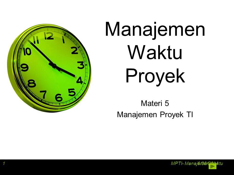 Arrow Diagramming Method (ADM) •Disebut juga activity-on-arrow (AOA) project network diagrams •Aktivitas direpresentasikan sebagai tanda panah •Node atau lingkaran sebagai penanda awal dan akhir sebuah aktivitas •Hanya dapat menunjukkan ketergantungan dari awal ke akhir 6/30/2014 MPTI- Manajemen Waktu12
