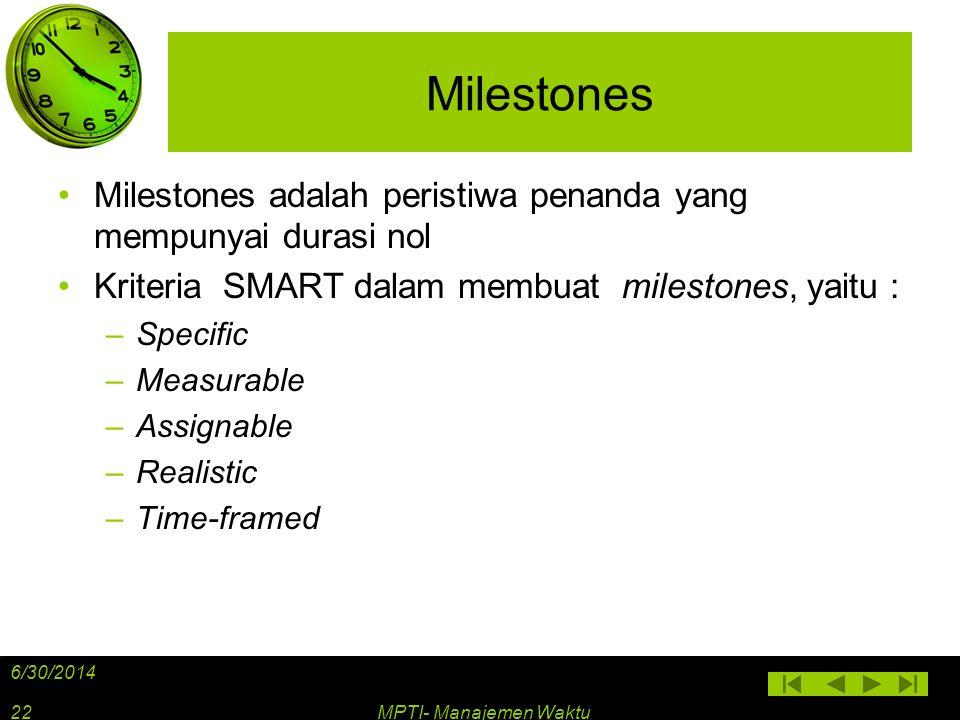 Milestones •Milestones adalah peristiwa penanda yang mempunyai durasi nol •Kriteria SMART dalam membuat milestones, yaitu : –Specific –Measurable –Ass