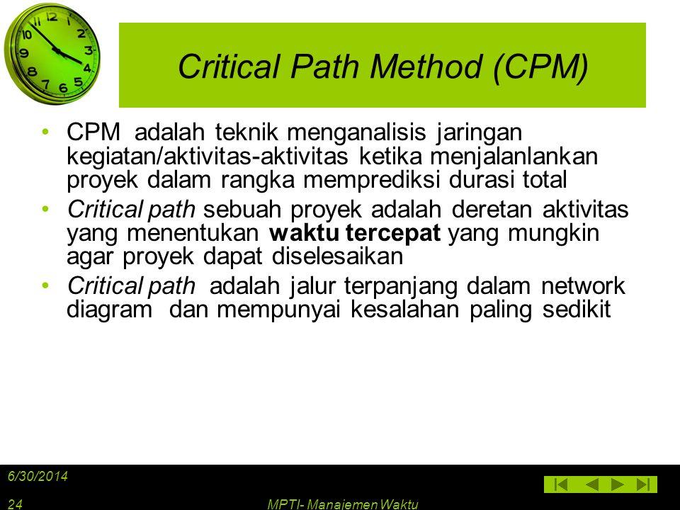 Critical Path Method (CPM) •CPM adalah teknik menganalisis jaringan kegiatan/aktivitas-aktivitas ketika menjalanlankan proyek dalam rangka memprediksi