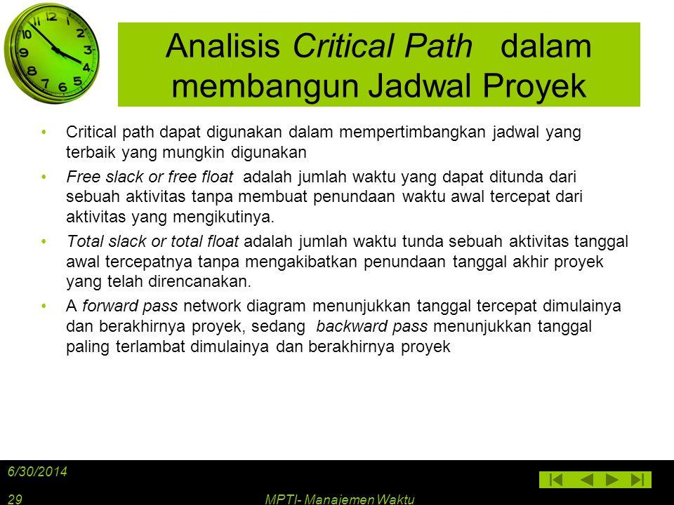 Analisis Critical Path dalam membangun Jadwal Proyek •Critical path dapat digunakan dalam mempertimbangkan jadwal yang terbaik yang mungkin digunakan