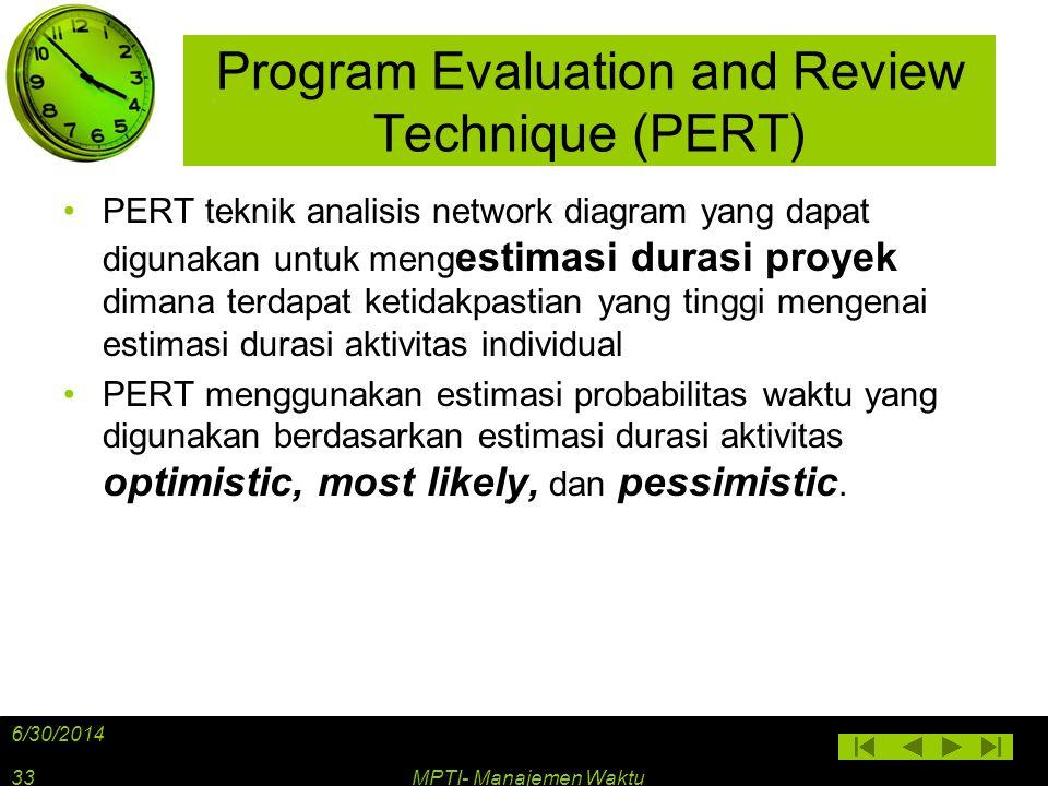Program Evaluation and Review Technique (PERT) •PERT teknik analisis network diagram yang dapat digunakan untuk meng estimasi durasi proyek dimana ter