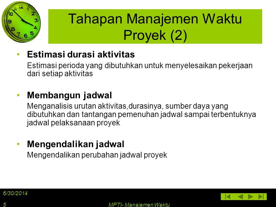 Tinjauan Umum Manajemen Waktu Proyek 6/30/2014 MPTI- Manajemen Waktu6
