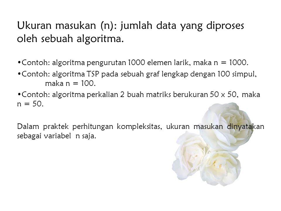 Ukuran masukan (n): jumlah data yang diproses oleh sebuah algoritma. •Contoh: algoritma pengurutan 1000 elemen larik, maka n = 1000. •Contoh: algoritm