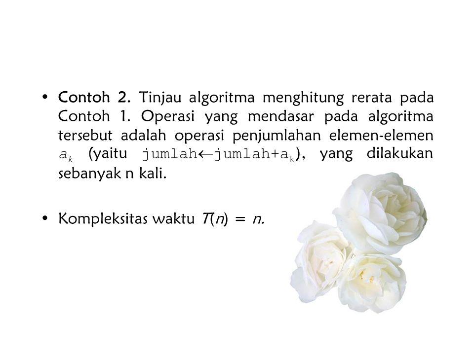 •Contoh 2. Tinjau algoritma menghitung rerata pada Contoh 1. Operasi yang mendasar pada algoritma tersebut adalah operasi penjumlahan elemen-elemen a
