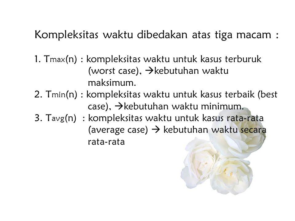 Kompleksitas waktu dibedakan atas tiga macam : 1. T max (n) : kompleksitas waktu untuk kasus terburuk (worst case),  kebutuhan waktu maksimum. 2. T m