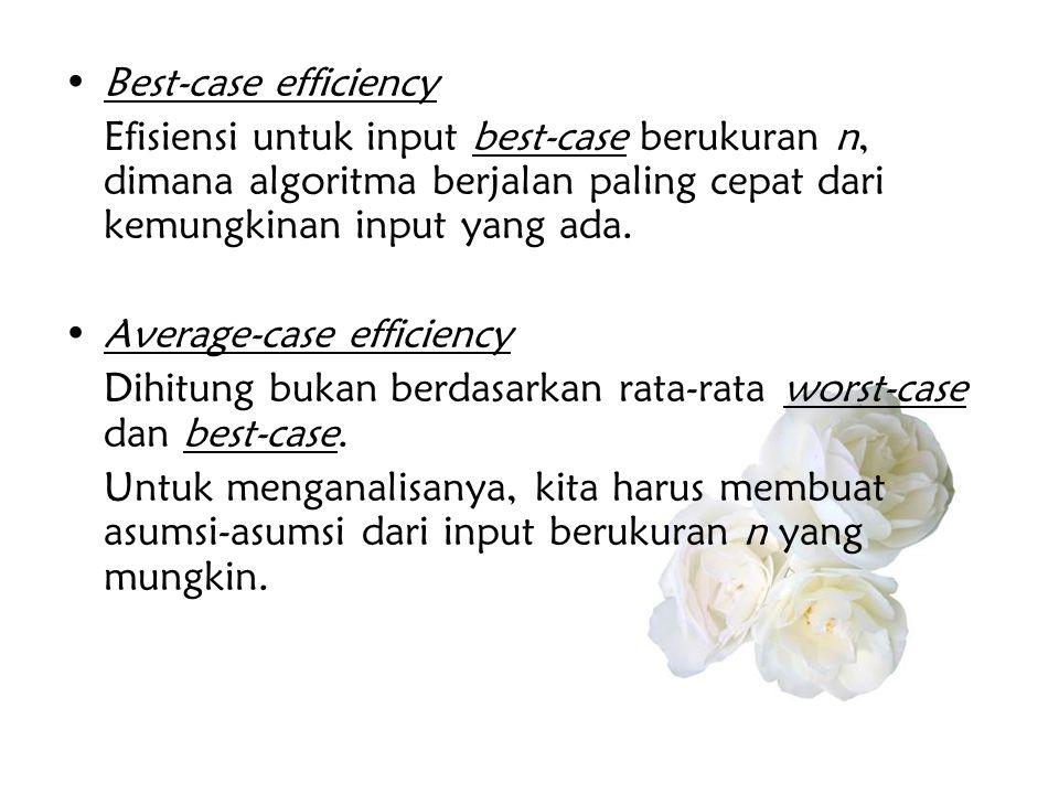 •Best-case efficiency Efisiensi untuk input best-case berukuran n, dimana algoritma berjalan paling cepat dari kemungkinan input yang ada. •Average-ca