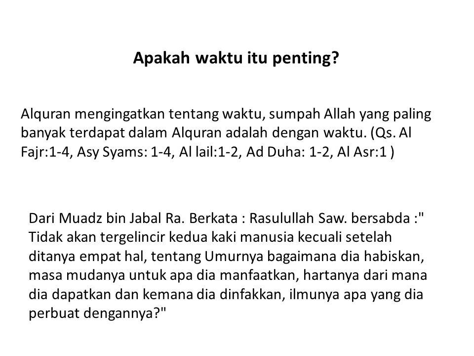 Apakah waktu itu penting? Alquran mengingatkan tentang waktu, sumpah Allah yang paling banyak terdapat dalam Alquran adalah dengan waktu. (Qs. Al Fajr