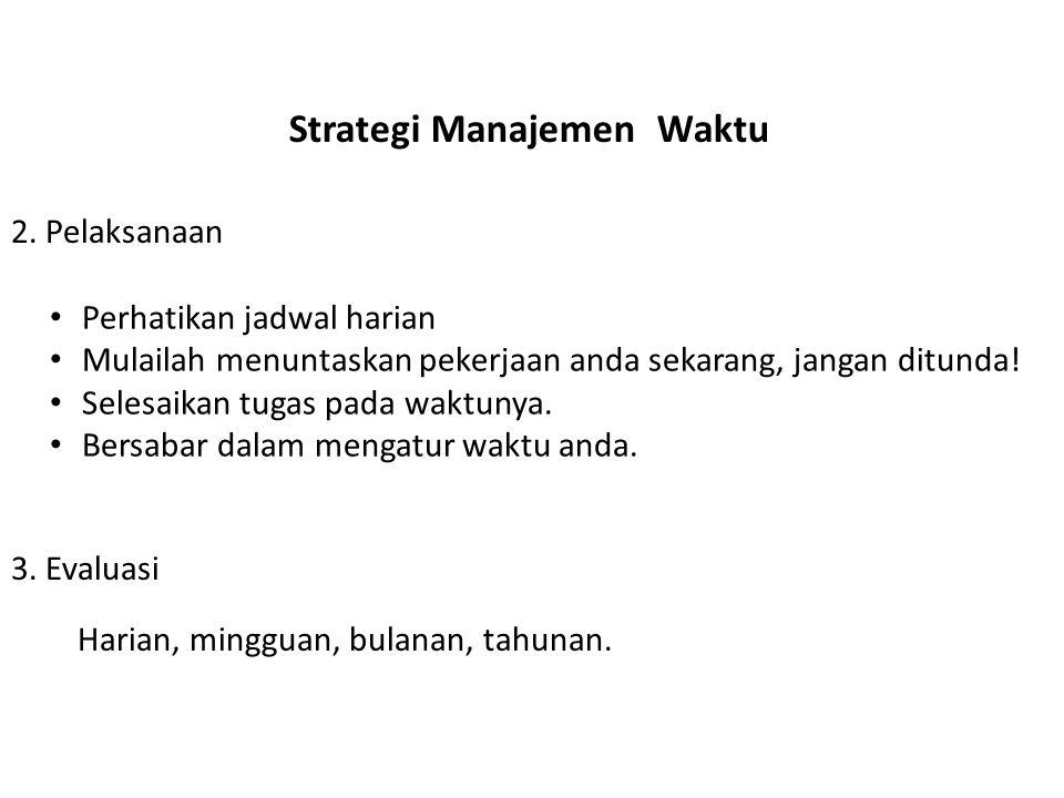Strategi Manajemen Waktu • Perhatikan jadwal harian • Mulailah menuntaskan pekerjaan anda sekarang, jangan ditunda! • Selesaikan tugas pada waktunya.