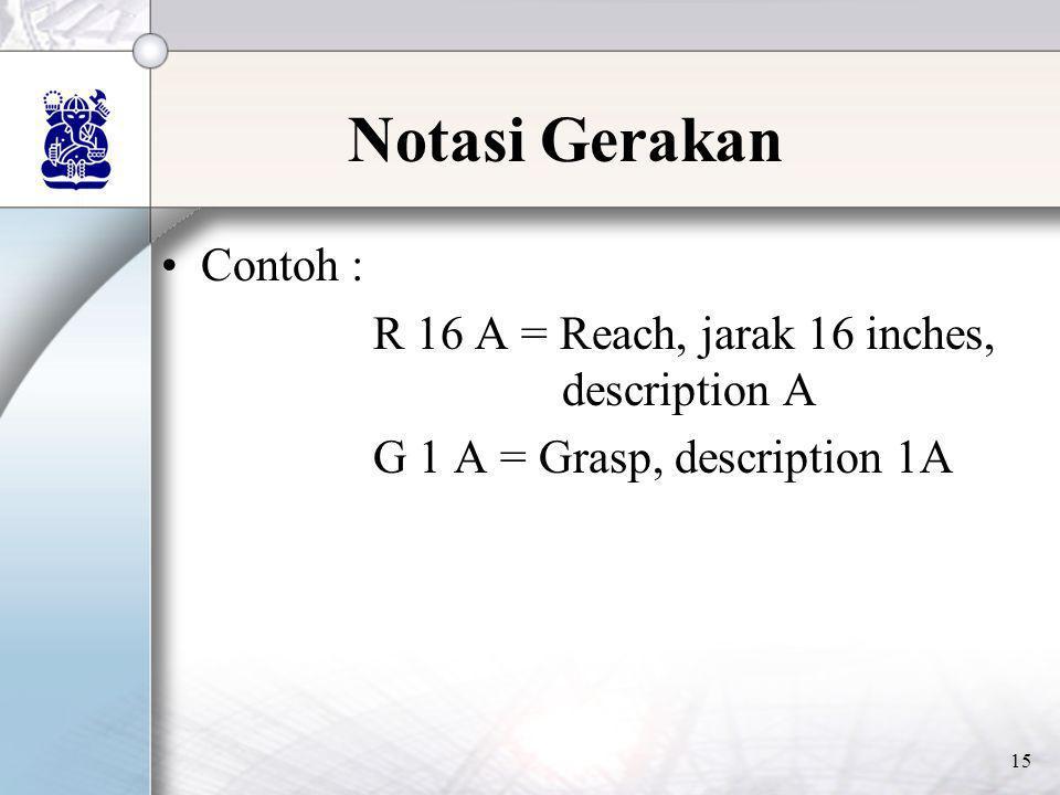 15 Notasi Gerakan •Contoh : R 16 A = Reach, jarak 16 inches, description A G 1 A = Grasp, description 1A