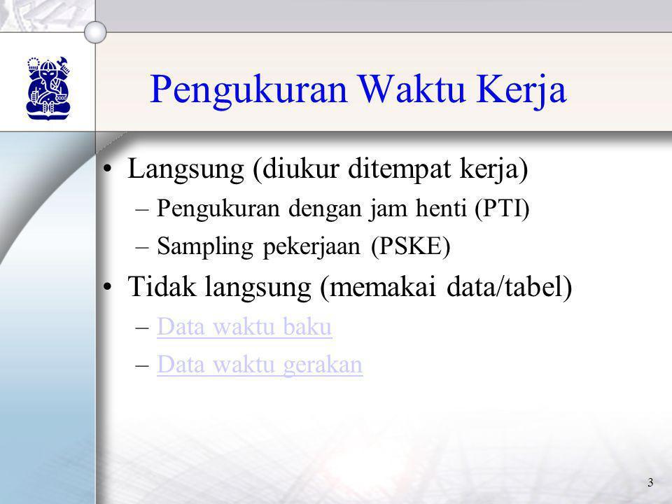 3 Pengukuran Waktu Kerja •Langsung (diukur ditempat kerja) –Pengukuran dengan jam henti (PTI) –Sampling pekerjaan (PSKE) •Tidak langsung (memakai data